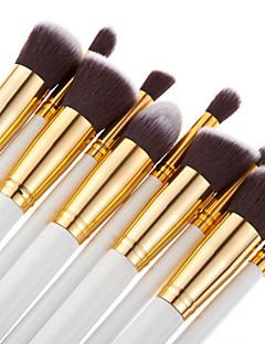 baratos -10pçs Pincéis de maquiagem Profissional Conjuntos de pincel / Pincel para Blush / Pincel para Sombra Fibra Sintética / Escova de Nailom