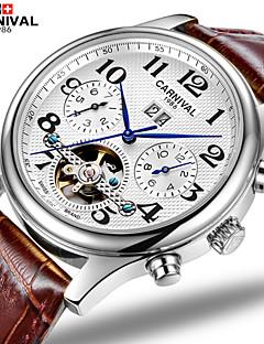 お買い得  有名ブランド腕時計-Carnival 男性 スケルトン腕時計 透かし加工 自動巻き レザー バンド ブラウン