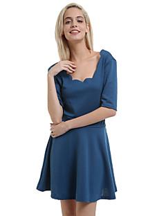 Γυναικεία Πάρτι/Κοκτέιλ Μεγάλα Μεγέθη Μεγάλα Μεγέθη Φόρεμα,Μονόχρωμο ½ Μανίκι Στρογγυλή Λαιμόκοψη Πάνω από το Γόνατο ΜαύροΒαμβάκι /