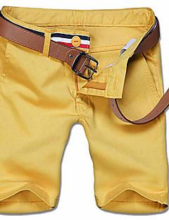 メンズ シンプル ミッドライズ 伸縮性なし ストレート スリム ショーツ パンツ ソリッド