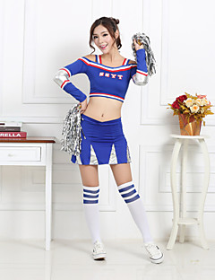 cheap Cheerleader Costumes-Shall We Cheerleader Costumes Women Performance Polyester 2 Pieces Dance Outfits Red / Blue