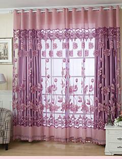 baratos Cortinas Transparentes-Anéis Um Painel Tratamento janela Regional, Jacquard Sala de Estar Poliéster Material Sheer Curtains Shades Decoração para casa