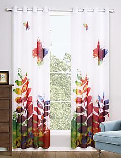 billige Gjennomsiktige gardiner-Propp Topp To paneler Window Treatment Moderne, Trykk Stue Polyester Materiale Gardiner Skygge Hjem Dekor