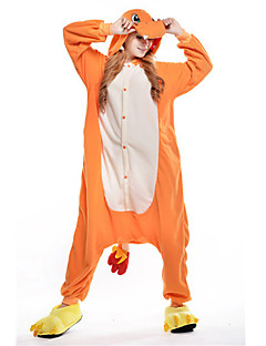 billige julen Kostymer-Kigurumi-pysjamas Drage Onesie-pysjamas Kostume Polar Fleece Oransje Cosplay Til Pysjamas med dyremotiv Tegnefilm Halloween Festival /