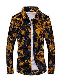 Men's Daily Spring Fall Shirt,Print Long Sleeves Cotton
