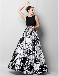 cheap Special Occasion Dresses-A-Line Scoop Neck Floor Length Chiffon Charmeuse Prom / Formal Evening Dress with Pattern / Print by TS Couture®