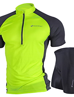 Nuckily ショーツ付きサイクリングジャージー 女性用 男女兼用 半袖 バイク アームウォーマー ジャージー ショートパンツ 洋服セット 防風 人間工学デザイン 抗紫外線 透湿性 フロントファスナー ケトルバッグ内蔵 耐久性 高通気性 ソフト ホールドフィット