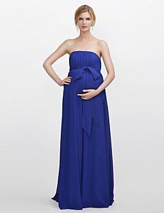 bainha / coluna sem alças vestido de dama de honra chiffon vestido com drapeado faixa / fita por xiangyouyayi