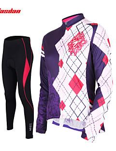 billige Sett med sykkeltrøyer og shorts/bukser-TASDAN Dame Langermet Sykkeljersey med tights - Svart Sykkel Tights Jersey Bukser Klessett, 3D Pute, Fort Tørring, Pustende,