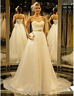 olcso -A-vonalú Kápolna uszály Organza Esküvői ruha val vel Gyöngydíszítés Gomb Ráncolt által LAN TING BRIDE®