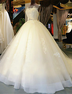 Ball Gown Illusion Neck Chapel Train Lace Over Tulle Made To Measure Wedding Dresses With Beading Appliques By LAN TING Express See Through Beautiful