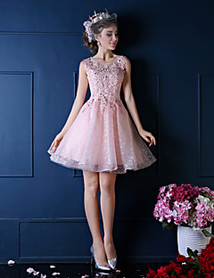 Ball Gown Princess Illusion Neckline Knee Length Lace Cocktail Party Dress with Flower(s) Pearl Detailing by QZ