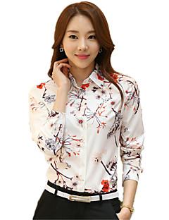 Polyester Tynn Langermet,Skjortekrage Skjorte Blomstret Vår Fritid/hverdag Plusstørrelser Dame