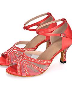 hesapli -Kadın's Salsa Ayakkabıları Elastik Kumaş Sandaletler / Topuklular / Spor Ayakkabı Taşlı / Toka / Hayvan Desenli Kıvrımlı Topuk Kişiselleştirilmiş Dans Ayakkabıları Kırmızı / Mor / Kraliyet Mavisi