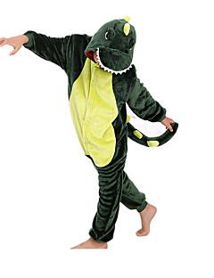Kigurumi Pyjamas Dinosaur Heldragtskostumer Pyjamas Kostume Flanel Fleece Grøn Cosplay Til Barn Nattøj Med Dyr Tegneserie Halloween
