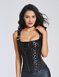 Büyük Beden / Göğüs Altı Korse / Göğüs Üstü Korse Yatak kıyafeti,Sexy / Alttan Destekli / Desen / Retro Kırk Yama Naylon / Polyester / PU