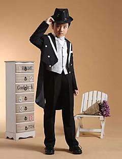 tanie Garnitury dla małych dróżbów-black/silver Black+Gloden Bawełna Garnitur dla małego drużby - 6 Zawiera Marynarka Pas Kamizelka Koszula Spodnie Muszka