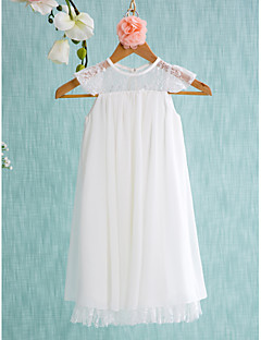 cheap Communion Dresses-A-Line Short / Mini Flower Girl Dress - Chiffon Sleeveless Jewel Neck with Lace Pleats by LAN TING BRIDE®