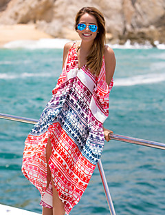 Women's Halter One-pieces / Cover-Ups,Color Block One-Pieces Chiffon Red