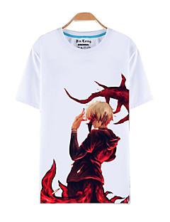 """billige -Inspirert av Tokyo Ghoul Ken Kaneki Anime  """"Cosplay-kostymer"""" Cosplay T-skjorte Trykt mønster Kortermet Topp Til Mann"""