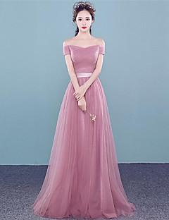 Prom formal vestido de noite - lace-up uma linha de off-the-ombro assoalho-comprimento tule com beading lado drapeado