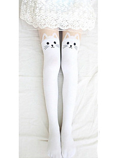 Socks/Stockings Sweet Lolita Lolita Lolita Black White Lolita Accessories Stockings Print For Velvet