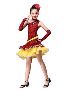 tanie Stroje do tańca latino-Taniec latynoamerykański Outfits Wydajność Bawełna Poliester Leopard Marszczenia Ubierać Rękawice Neckwear