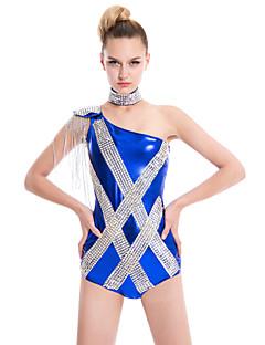tanie Stroje do tańca latino-Odzież imprezowa Unitards Damskie Poliester Spandeks Elastyczne Tkane Satin Z cekinami Cekin Frędzel Bez rękawów