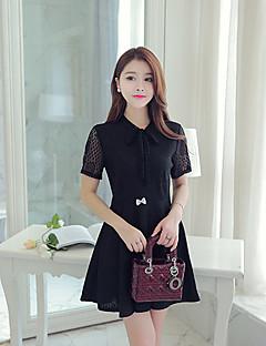 Damen Spitze Kleid-Lässig/Alltäglich / Übergröße Einfach Solide Hemdkragen Mini Kurzarm Weiß / Schwarz Polyester Sommer
