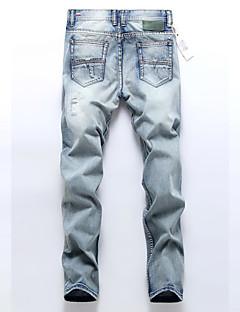 billige Herrebukser og -shorts-Herre Fritid Bomull Rett Løstsittende Joggebukser Jeans Bukser Ensfarget