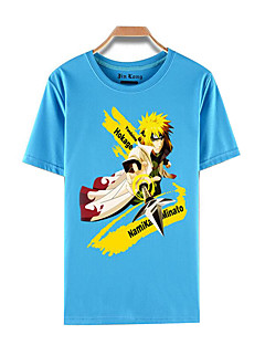 """billige Anime Kostymer-Inspirert av Naruto Naruto Uzumaki Anime  """"Cosplay-kostymer"""" Cosplay T-skjorte Trykt mønster Kortermet Topp Til Mann"""