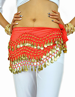cheap Dance Accessories-Belly Dance Belt Women's Training Chiffon Beading Coin Hip Scarf