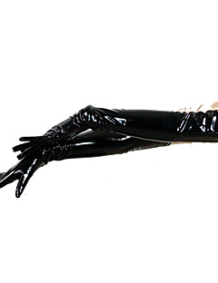Gloves Ninja Zentai Cosplay Costumes Black Solid Gloves PVC Unisex Halloween