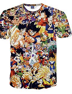 baratos Fantasias Anime-Inspirado por Dragon ball Son Goku Anime Fantasias de Cosplay Cosplay T-shirt Poá / Estampado Manga Curta Camiseta Para Homens Trajes da Noite das Bruxas