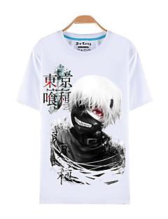 """billige Anime-gensere og hettegensere-Inspirert av Tokyo Ghoul Ken Kaneki Anime  """"Cosplay-kostymer"""" Cosplay T-skjorte Trykt mønster Kortermet Topp Til Herre"""