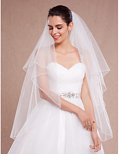 cheap Wedding Veils-Two-tier Pencil Edge Wedding Veil Blusher Veils Fingertip Veils With Ruched Tulle
