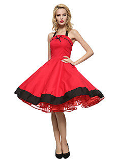 Maggie Tang Women's Halter 50s Vintage Plus Sizes Swing Dress