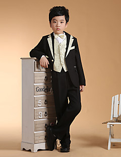 cheap Ring Bearer Suits-black/silver Black+Gloden Cotton Ring Bearer Suit - Six-piece Suit Includes  Jacket Waist cummerbund Vest Shirt Pants Bow Tie