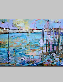 tanie Pejzaże abstrakcyjne-Hang-Malowane obraz olejny Ręcznie malowane - Pejzaż abstrakcyjny Nowoczesny Z ramą