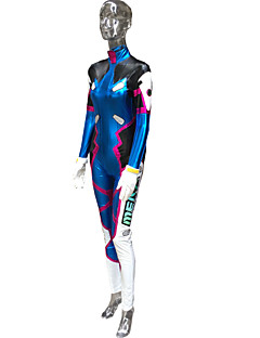 cheap Videogame Costumes-Inspired by Overwatch D.Va Video Game Cosplay Costumes Cosplay Suits Print Blue Long Sleeve Leotard / Bracelet