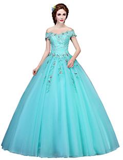 ボールガウン プリンセス フロア丈 チュール フォーマルイブニング ドレス とともに アップリケ クリスタル装飾 〜によって SG