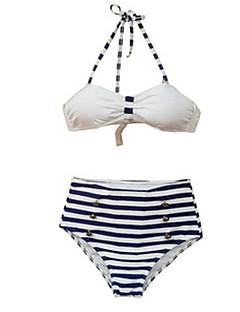 billige Bikinier og damemote 2017-Dame Bikini Badetøy Høyt liv Retro Rød Grime Svart Mørkeblå
