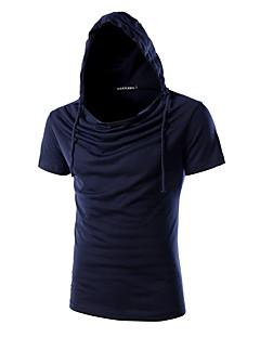 男性用 半袖 Tシャツ,コットン / スパンデックス カジュアル / プラスサイズ プレイン