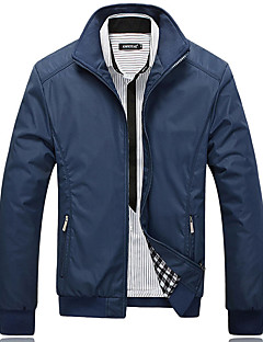 Men's Long Sleeve Jacket,Cotton / Acrylic / Polyester Casual Solid / Patchwork 916173