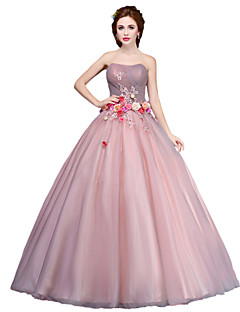 cheap Special Occasion Dresses-Ball Gown Princess Strapless Floor Length Tulle Formal Evening Dress with Flower by LAN TING Express