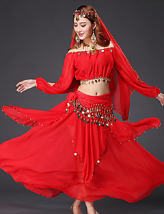 cheap Belly Dance Wear-Belly Dance Outfits Women's Performance Chiffon Sequin Gold Coin Long Sleeves Dropped Top Skirt Belt Veil