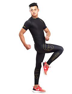 billige Løbetøj-GETMOVING Herre / Dame T-shirt og bukser til løb og jogging Kortærmet Hurtigtørrende, Anatomisk design, Ultraviolet Resistent Leggins /