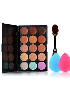 15 cores corretivo paleta da escova de maquiagem e esponjas de maquiagem tamanho pequeno