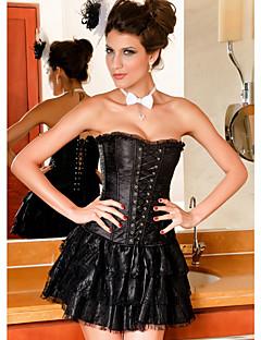 YUIYE® Women Sexy Lingerie Waist Training Corset Bustier Shapewear Overbust Corset Set Dress with Skirt Plus Size S-2XL