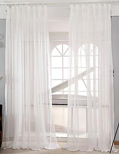baratos Cortinas Transparentes-Sheer Curtains Shades Sala de Estar Sólido Poli / Mistura de Algodão Jacquard